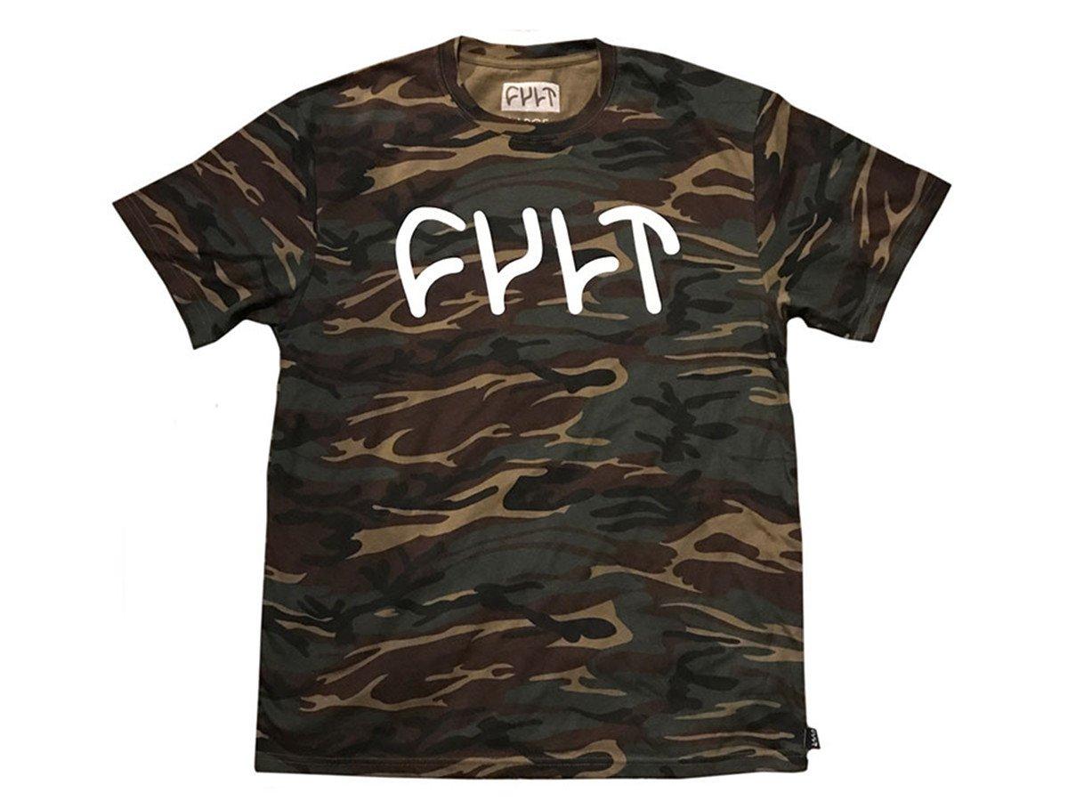 Cult Logo T Shirt Camo Kunstform Bmx Shop