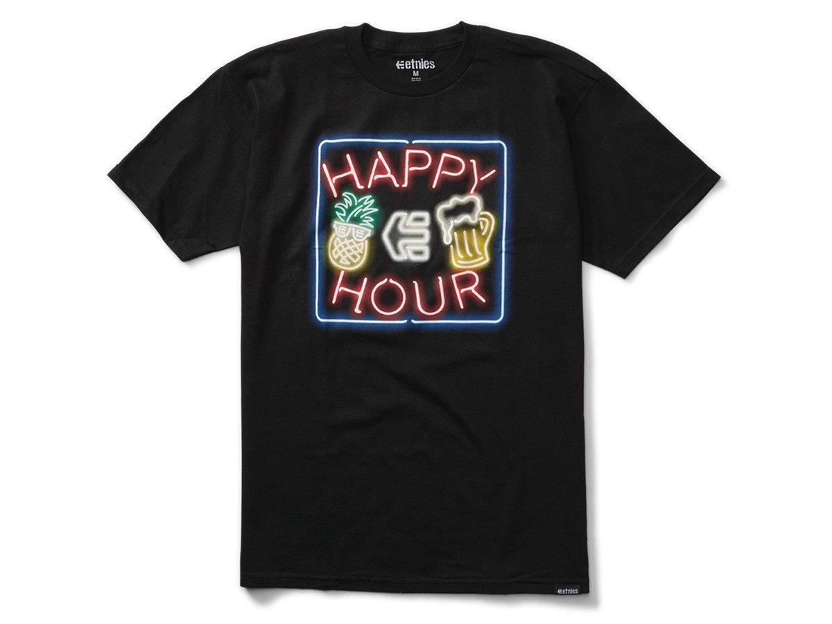 Etnies x happy hour neon t shirt black kunstform bmx for 1 hour t shirts