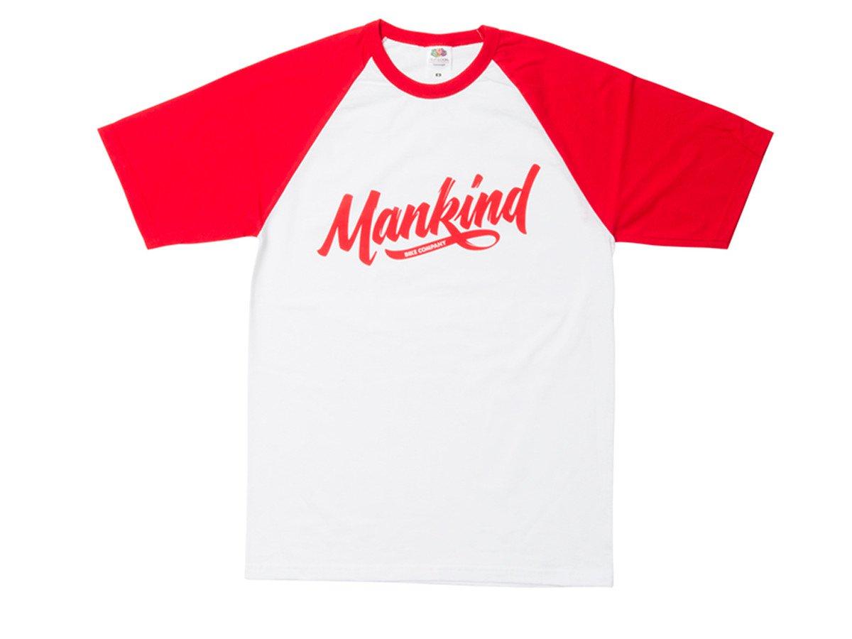 Mankind bike co groove raglan t shirt white red for Bike and cycle shoppe shirt