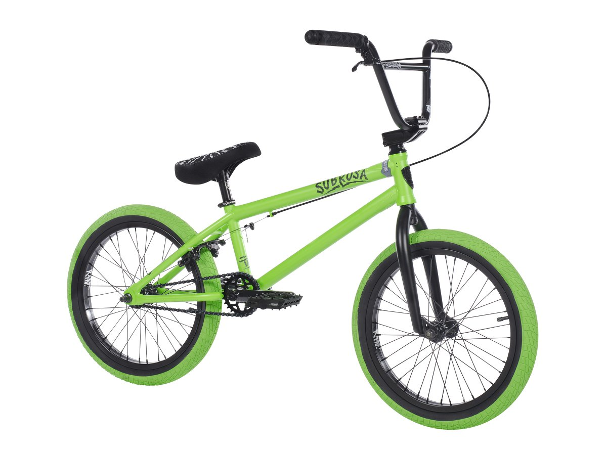 subrosa bikes tiro 18 2018 bmx bike satin neon green 18 inch kunstform bmx shop. Black Bedroom Furniture Sets. Home Design Ideas