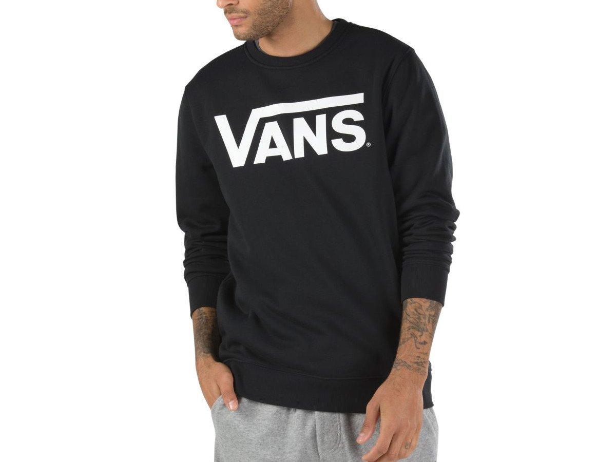 VANS CLASSIC CREW FLEECE SWEATSHIRT BLACK & WHITE for sale