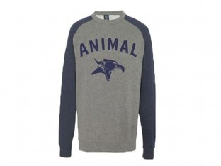 "Animal Bikes ""Serif Crew"" Pullover - Navy/Grey"
