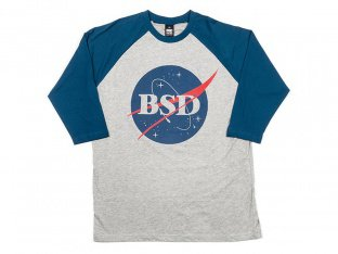 "BSD ""Space Agency"" Baseball Shirt - Heather Grey / Navy"