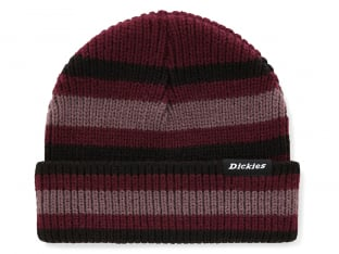 "Dickies ""Mer Rouge Striped"" Beanie - Maroon"