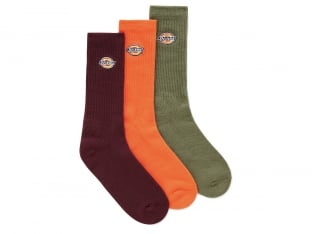 "Dickies ""Valley Grove"" Socks (3 Pair) - Army Green/Maroon/Orange"
