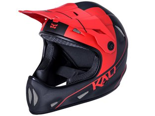"Kali Protectives ""Alpine Carbon Pulse"" Fullface Helm - Matt Black/Red"