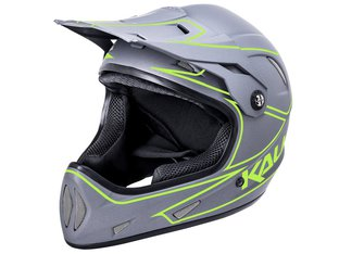 "Kali Protectives ""Alpine"" Fullface Helm - Matt Grey/Neon Yellow"