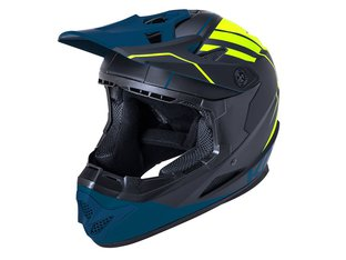"Kali Protectives ""Zoka Youth"" Fullface Helm - Black/Flourescent Yellow/Teal"