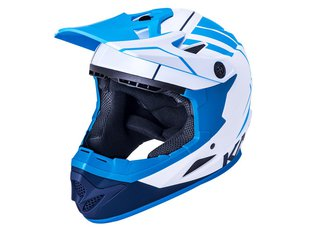 "Kali Protectives ""Zoka Youth"" Fullface Helm - White/Blue/Navy"