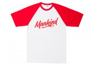 "Mankind Bike Co. ""Groove Raglan"" T-Shirt - White/Red"