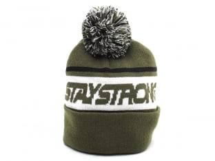 "Stay Strong ""Faster Bobble"" Beanie  - Army Green/Black"