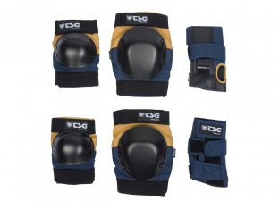 "TSG ""Basic"" Knee + Elbows Pads + Wrist Guard Set - Nightblue/Duskyellow"