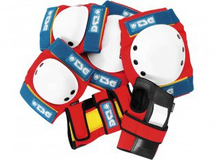 "TSG ""Basic"" Knee + Elbows Pads + Wrist Guard Set - Red-White-Blue"