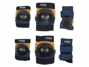 "TSG ""Junior"" Knee + Elbows Pads + Wrist Guard Set - Nightblue-Duskyellow"