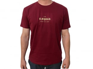 "Tempered Bikes ""OLD English"" T-Shirt - Maroon Red"