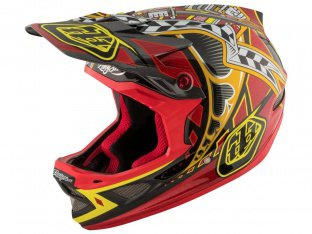 "Troy Lee Designs ""D3 Carbon"" Fullface Helm - Longshot Red (MIPS)"