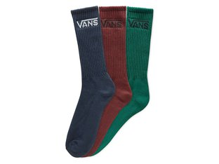 "Vans ""Classic Crew"" Socks (3 Pair) - Green/Blue/Red"