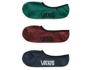 "Vans ""Classic Super No Show"" Socks (3 Pair) - Green/Blue/Red"
