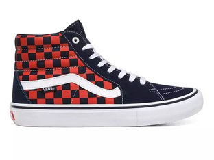 "Vans ""Sk8-Hi Pro"" Shoes - (Checkerboard) Navy/Orange"