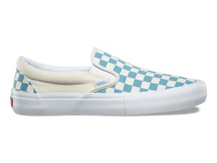 "Vans ""Slip-On Pro"" Shoes - Checkerboard Adriatic Blue/White"