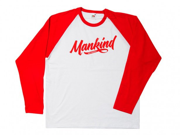"Mankind Bike Co. ""Groove Raglan"" Longsleeve - White/Red"