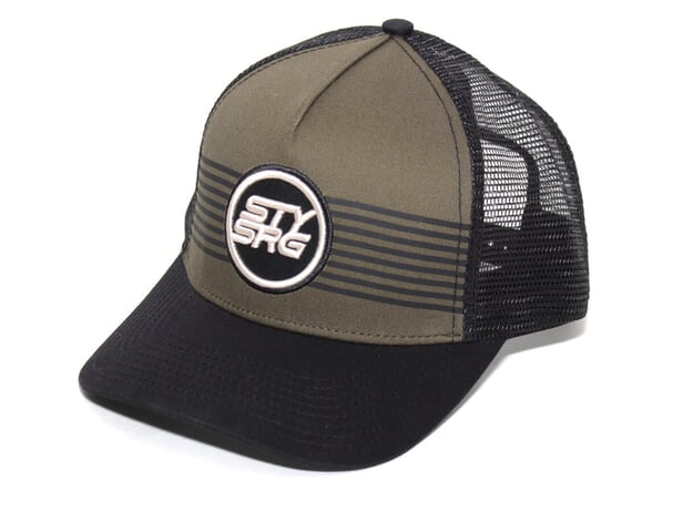 "Stay Strong ""Icon Stripe"" Trucker Cap - Black/Olive"