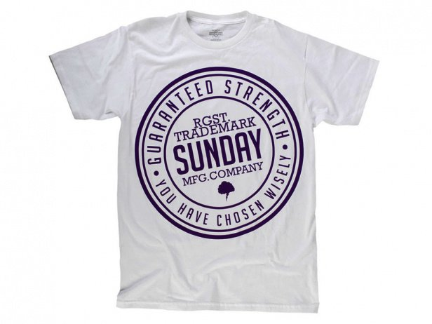 "Sunday Bikes ""Extra Strength"" T-Shirt - White/Purple"