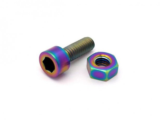 "TLC Bikes ""Integrated Titanium"" Seat Clamp Bolt + Nut - Oil Slick"