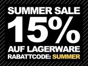 Summer Sale! 15% Rabatt auf Lagerware!