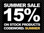 Summer Sale! 15% discount on stock!
